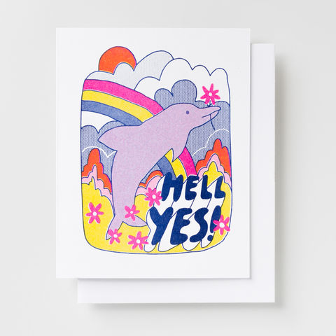Hell,Yes!,Dolphin,-,Risograph,Card,yes, dolphin, neon, risograph, riso, greeting card, card, rainbow