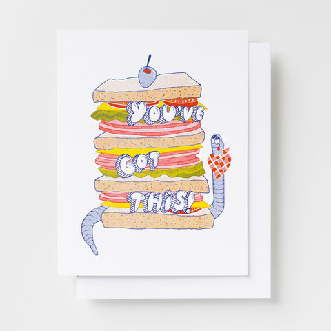 You've,Got,This!,-,Risograph,Card,encouragement, sandwich, big sandwich, worm, fun, risograph, riso, greeting card, card