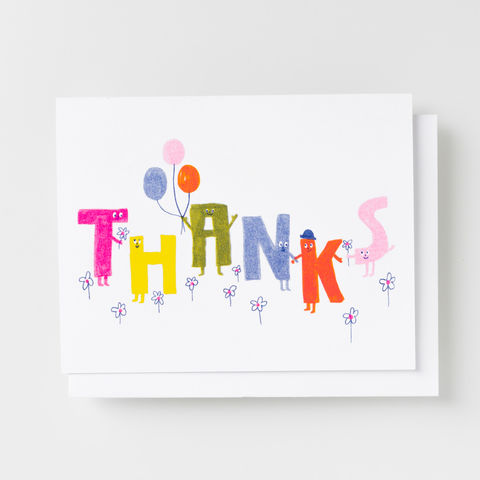 Thanks,Friends,-,Risograph,Card,thank you, thank you card, alphabet, risograph, riso, card, greeting card