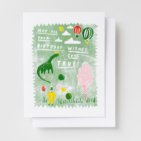 Birthday,Wishes,Dino,-,Risograph,Card,dinosaurs, birthday, greeting card, card, children, birthday party, risograph, riso