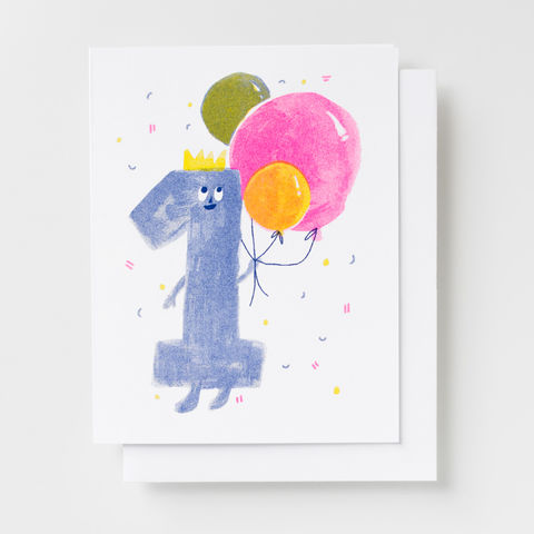 Birthday,1,-,Risograph,Card,birthday, greeting card, one year, baby, toddler, risograph, riso, card, fun