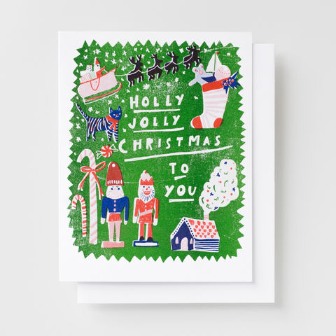 Holly,Jolly,Christmas,-,Risograph,Card,christmas, greeting card, card, holiday, holiday card, nutcracker, candy cane, risograph, riso