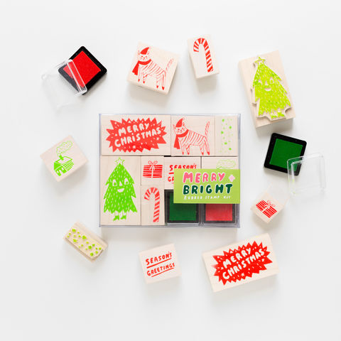Merry,+,Bright,Stamp,Kit,holiday, stamps, rubber stamps, ink pad, custom, christmas, candy cane, christmas tree