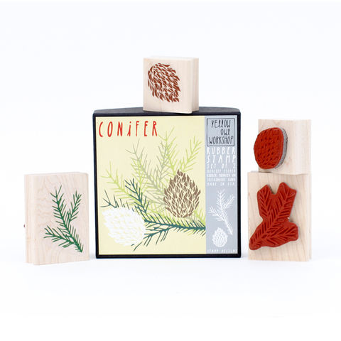 Conifer,Stamp,Set,christine schmidt, yellow owl workshop, stamp set, conifer stamp, christmas stamp, pinecone stamp set