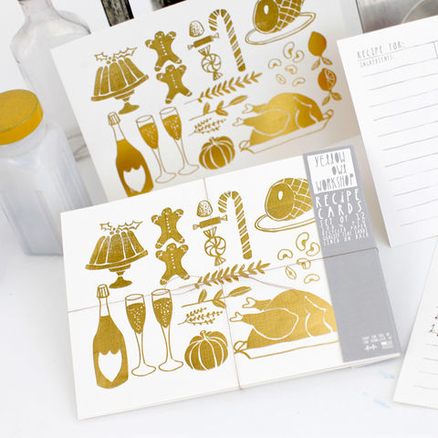 Gold,Foil,Recipe,Cards,yellow owl workshop, recipe cards, christine schmidt, gold recipe cards, festive recipe cards, holiday recipe cards