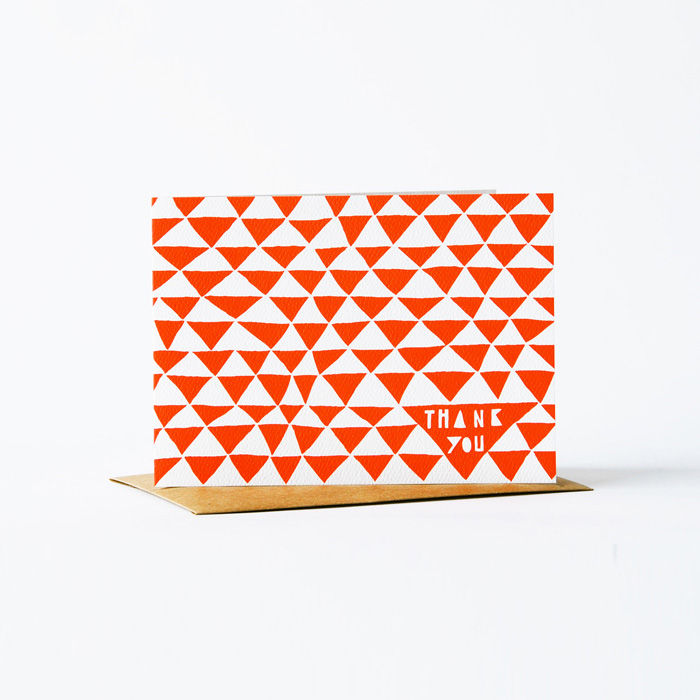 Geometric Thank You Card - Red - product images
