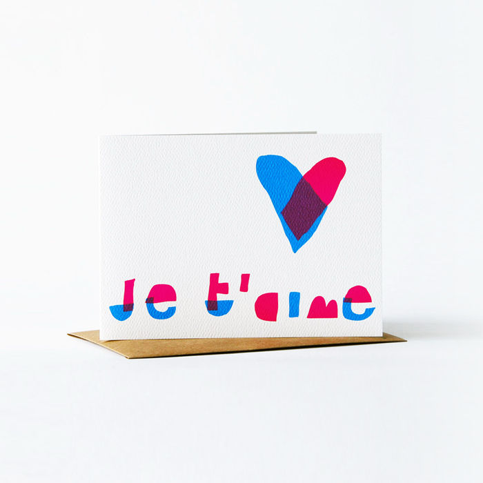 Notes en Français Card - je t'aime - product images