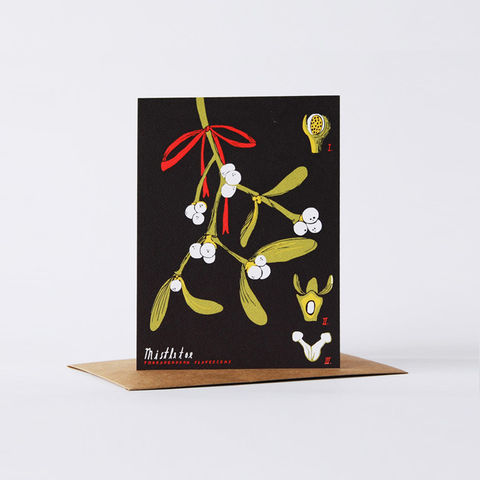botanical,card,-,mistletoe,christine schmidt, yellow owl workshop, greeting card, hello lady card