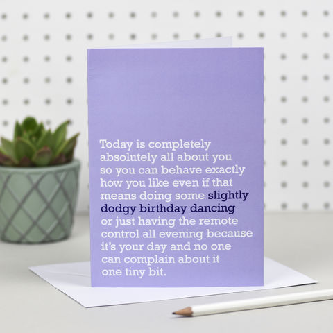 'Slightly,Dodgy,Dancing',Birthday,Card,the right lines, slightly dodgy dancing, birthday cards, funny birthday cards