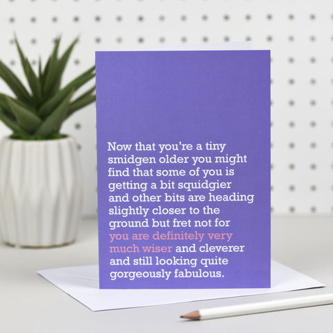 'Definitely,Very,Much,Wiser',Birthday,Card,the right lines, definitely very much wiser, lindsay randall, 40th birthday, 50th birthday, 60th birthday, funny birthday cards