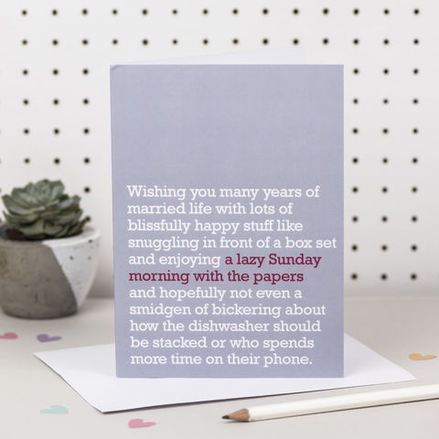 'A,Lazy,Sunday,Morning,With,The,Papers',Wedding,Card