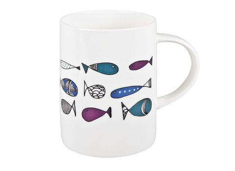 Fishes,Mug,Jade devall, gift, teapot, tea cup, jugs, sugar bowl, mugs, cake stands, illustrated, pattern, print