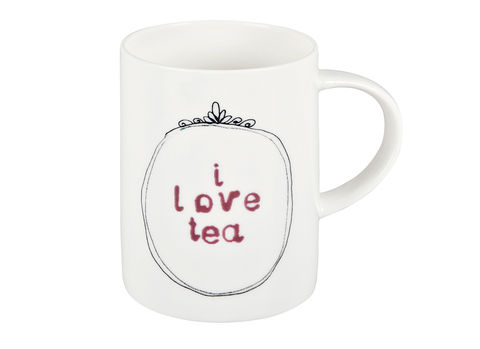 'I,love,tea',Mug,Jade devall, gift, teapot, tea cup, jugs, sugar bowl, mugs, cake stands, illustrated, pattern, print