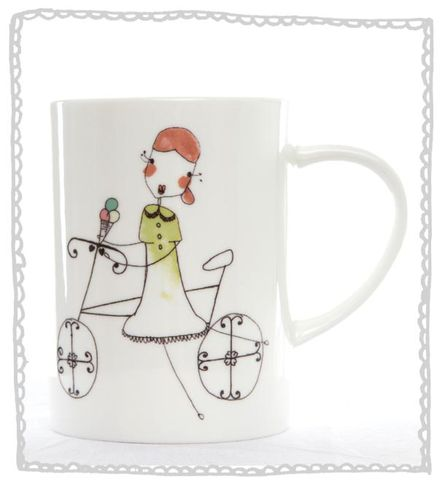 Girl,Bike,Mug,Jade devall, gift, teapot, tea cup, jugs, sugar bowl, mugs, cake stands, illustrated, pattern, print