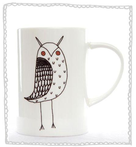 Owl,'I,love,tea',Mug,Jade devall, gift, teapot, tea cup, jugs, sugar bowl, mugs, cake stands, illustrated, pattern, print