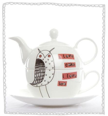 Owl,Tea,for,One,Set,Jade devall, gift, teapot, tea cup, jugs, sugar bowl, mugs, cake stands, illustrated, pattern, print