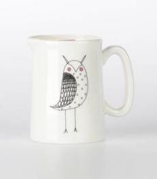 Owl,Milk,Jug,Jade devall, gift, teapot, tea cup, jugs, sugar bowl, mugs, cake stands, illustrated, pattern, print