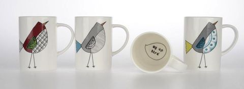 Ay,Up,Bird,Mugs,set,of,4,Jade devall, gift, teapot, tea cup, jugs, sugar bowl, mugs, cake stands, illustrated, pattern, print