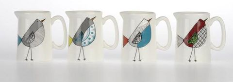 Ay,Up,Bird,Milk,Jugs,set,of,4,Jade devall, gift, teapot, tea cup, jugs, sugar bowl, mugs, cake stands, illustrated, pattern, print