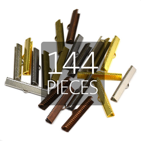 144pcs,35mm,(1,3/8),Ribbon,Clamp,End,Crimps,35mm ribbon clamps, 1 3 8 ribbon clamps, ribbon clamps, ribbon crimps, ribbon ends, ribbon findings, bulk ribbon clamps