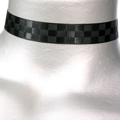 16mm,(5/8),Black,Checkerboard,Satin,Ribbon,Choker,Necklace,black satin choker, black choker, black ribbon choker, ribbon choker, satin choker, ribbon choker necklace, checkerboard choker
