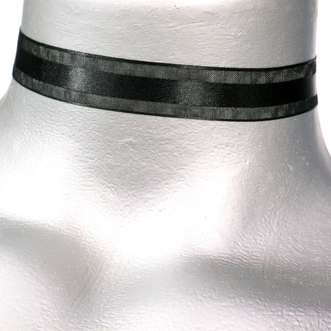 16mm,(5/8),Black,Organza,Stripe,Satin,Ribbon,Choker,Necklace,organza choker, stripe choker, black satin choker, black choker, black ribbon choker, ribbon choker, satin choker, ribbon choker necklace, checkerboard choker