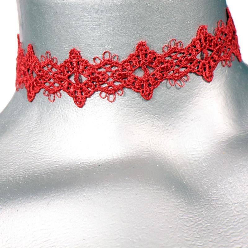 16mm 58quot red diamond lace ribbon choker necklace