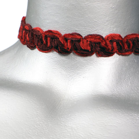 16mm,(5/8),Gothic,Blood,Red,Chenille,Swirl,Trim,Ribbon,Choker,Necklace,red trim choker, red choker, red ribbon choker, ribbon choker, choker, ribbon choker necklace