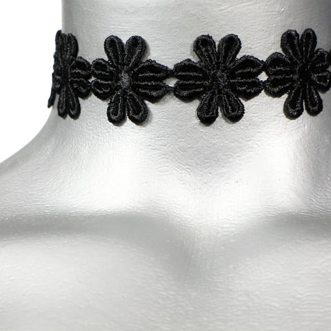 16mm,(5/8),Black,Daisy,Flower,Satiny,Trim,Ribbon,Choker,Necklace,black trim choker, black choker, black ribbon choker, ribbon choker, choker, ribbon choker necklace