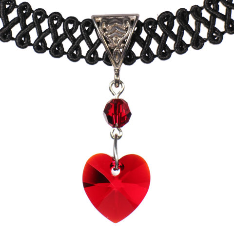 14mm,Siam,Red,Swarovski,Crystal,Heart,Swirl,Trim,Choker,Necklace,swarovski choker, swarovski crystal necklace, swarovski crystal jewelry, swarovski crystal heart necklace, black trim choker, black choker, black ribbon choker, ribbon choker, choker, ribbon choker necklace