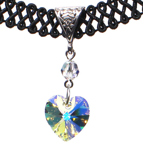 14mm,Aurora,Borealis,Swarovski,Crystal,Heart,Swirl,Trim,Choker,Necklace,swarovski choker, swarovski crystal necklace, swarovski crystal jewelry, swarovski crystal heart necklace, black trim choker, black choker, black ribbon choker, ribbon choker, choker, ribbon choker necklace