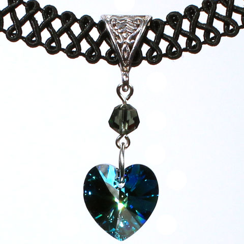 14mm,Bermuda,Blue,Swarovski,Crystal,Heart,Swirl,Trim,Choker,Necklace,swarovski choker, swarovski crystal necklace, swarovski crystal jewelry, swarovski crystal heart necklace, black trim choker, black choker, black ribbon choker, ribbon choker, choker, ribbon choker necklace