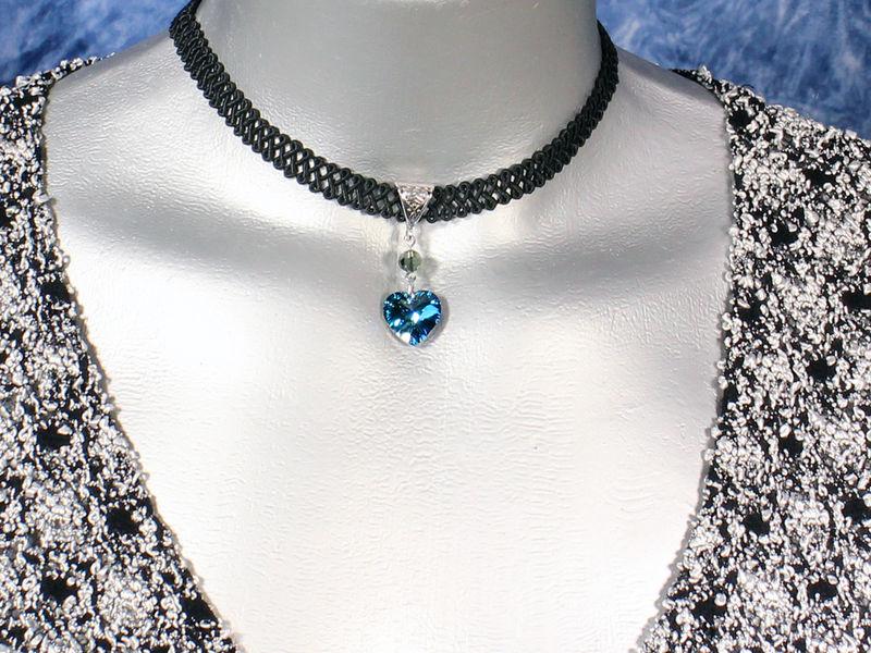 14mm bermuda blue swarovski crystal heart swirl trim choker necklace 14mm bermuda blue swarovski crystal heart swirl trim choker necklace product images of aloadofball Images