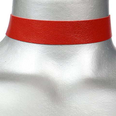 20mm,(3/4),Plain,Red,Leather,Choker,Collar,Necklace,red leather choker, red choker, red ribbon choker, ribbon choker, leather choker, ribbon choker necklace, checkerboard choker