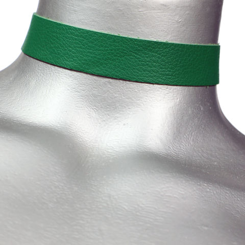 20mm,(3/4),Plain,Green,Leather,Choker,Collar,Necklace,green leather choker, green choker, green ribbon choker, ribbon choker, leather choker, ribbon choker necklace, checkerboard choker