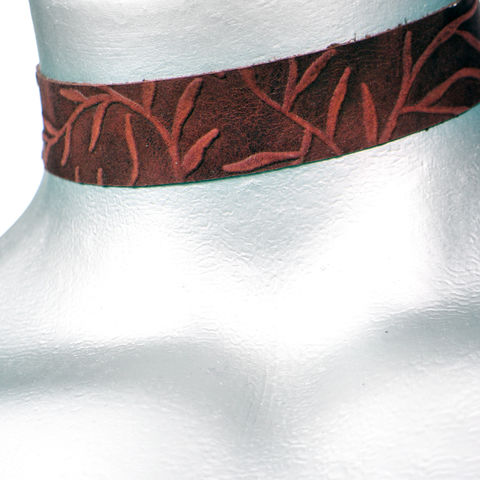 20mm,(3/4),Brown,Vine,Suede,Leather,Choker,Collar,Necklace,brown leather choker, brown choker, brown ribbon choker, ribbon choker, leather choker, ribbon choker necklace, checkerboard choker