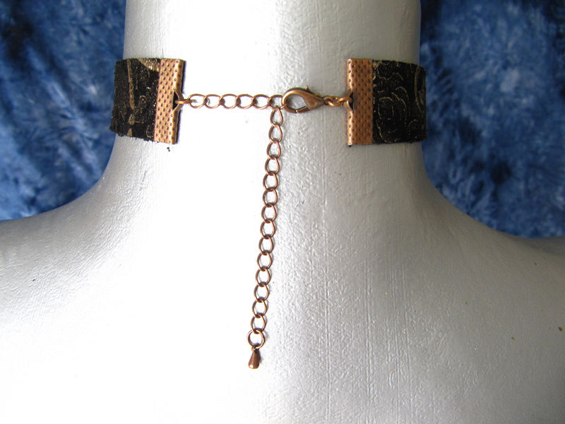 "20mm (3/4"") Silver and Copper Filigree Black Suede Leather Choker Collar Necklace - product images  of"
