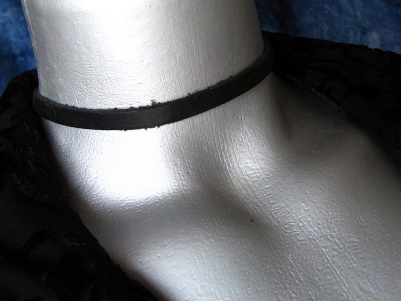 "6mm (1/4"") Plain Black Leather Choker Collar Necklace - product images  of"