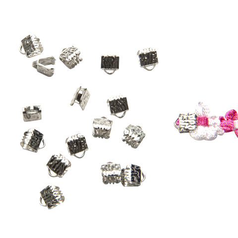 6mm,(1/4),-150pcs-,Platinum,Silver,Ribbon,Clamps,-,Artisan,Series,6mm ribbon clamps, 1/4 inch ribbon clamps, ribbon clamps, ribbon crimps, ribbon ends, ribbon findings, bulk ribbon clamps, crimps, crimp ends, 6mm