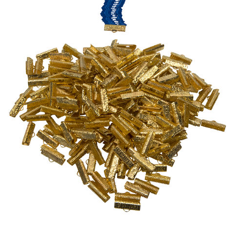 20mm,(3/4),-500pcs-,Gold,Ribbon,Clamps,-,Artisan,Series,20mm ribbon clamps, 3/4 inch ribbon clamps, ribbon clamps, ribbon crimps, ribbon ends, ribbon findings, bulk ribbon clamps, crimps, crimp ends, 20mm