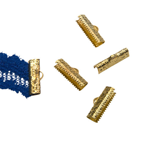20mm,(3/4),-16pcs-,Gold,Ribbon,Clamps,-,Artisan,Series,20mm ribbon clamps, 3/4 inch ribbon clamps, ribbon clamps, ribbon crimps, ribbon ends, ribbon findings, bulk ribbon clamps, crimps, crimp ends, 20mm