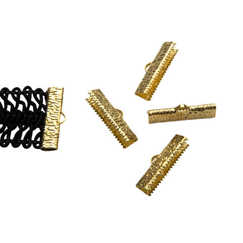 25mm,(1),-16pcs-,Gold,Ribbon,Clamps,-,Artisan,Series,25mm ribbon clamps, 1 inch ribbon clamps, ribbon clamps, ribbon crimps, ribbon ends, ribbon findings, bulk ribbon clamps, crimps, crimp ends, 25mm