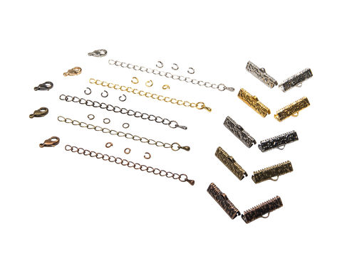 22mm,(7/8),Ribbon,Choker,Necklace,or,Bracelet,Findings,Kit,-,Artisan,Series, 22mm choker kit, chains, ribbon clamps, jump rings, bracelet kit, jewelry kit, jewelry findings kit, gold, bronze, silver, copper, gunmetal, DIY jewelry, ribbon choker kit, ribbon bracelet kit, choker, bracelet, jewelry findings, womens