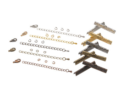 35mm,(1,3/8),Ribbon,Choker,Necklace,or,Bracelet,Findings,Kit,-,Artisan,Series, 35mm choker kit, chains, ribbon clamps, jump rings, bracelet kit, jewelry kit, jewelry findings kit, gold, bronze, silver, copper, gunmetal, DIY jewelry, ribbon choker kit, ribbon bracelet kit, choker, bracelet, jewelry findings, womens