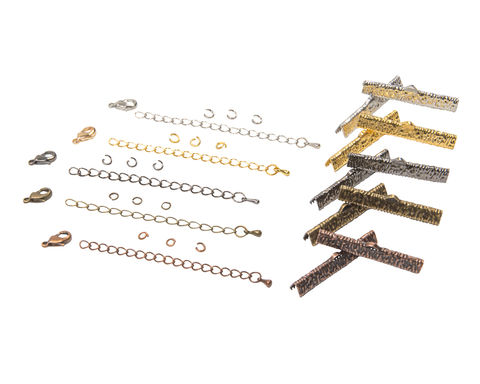 38mm,(1,1/2),Ribbon,Choker,Necklace,or,Bracelet,Findings,Kit,-,Artisan,Series, 38mm choker kit, chains, ribbon clamps, jump rings, bracelet kit, jewelry kit, jewelry findings kit, gold, bronze, silver, copper, gunmetal, DIY jewelry, ribbon choker kit, ribbon bracelet kit, choker, bracelet, jewelry findings, womens