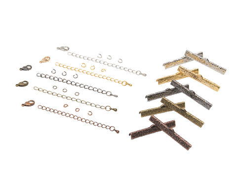 40mm,(1,9/16),Ribbon,Choker,Necklace,or,Bracelet,Findings,Kit,-,Artisan,Series, 40mm choker kit, chains, ribbon clamps, jump rings, bracelet kit, jewelry kit, jewelry findings kit, gold, bronze, silver, copper, gunmetal, DIY jewelry, ribbon choker kit, ribbon bracelet kit, choker, bracelet, jewelry findings, womens