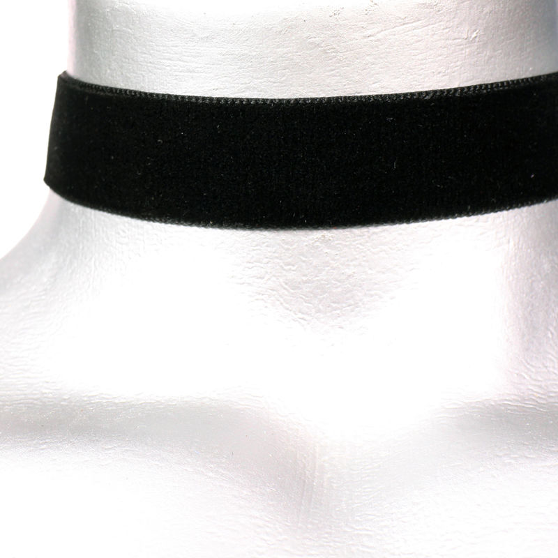 "22mm (7/8"") Plain Black Velvet Ribbon Choker Necklace - product images  of"
