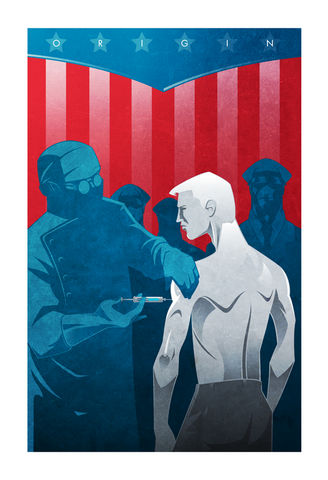 Rebirth,captain america, cap, art book, origin series, origin story, superhero, minimalist, design, pop culture art