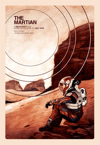 140,Million,Miles,The martian, matt damon, mars, print, movie poster,
