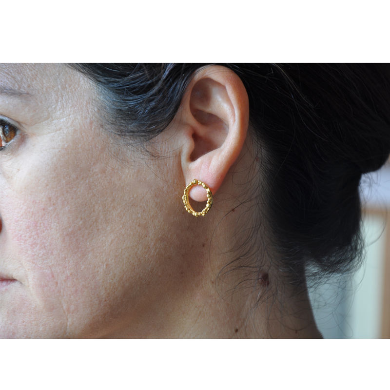 ORB Hoops medium - gold plated silver with irregular granulation - product images  of
